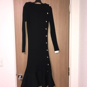 Dresses & Skirts - Black Ribbed Knit Silver Button Long Sleeves Dress